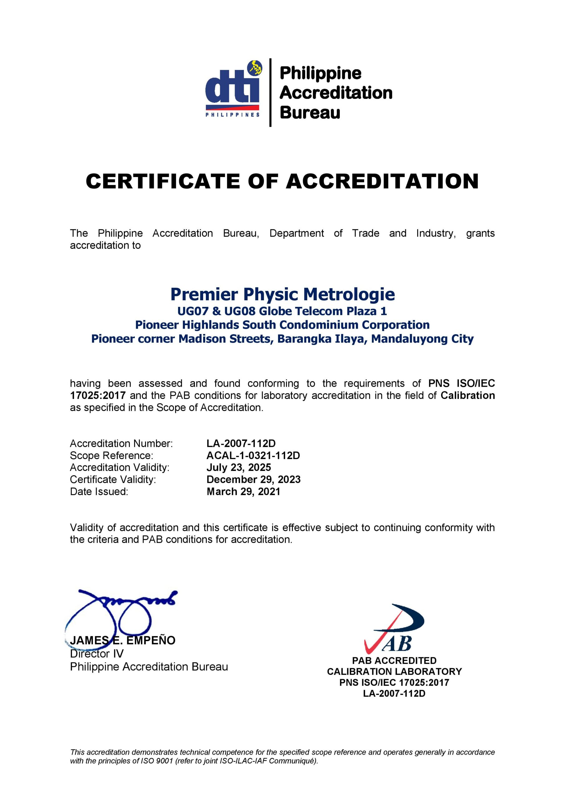 Premier Physic Metrologie - Certificate of Accreditation